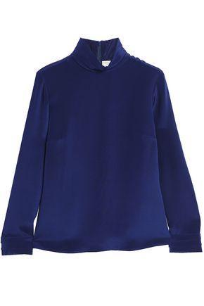 Goat Woman Washed-silk Turtleneck Top Royal Blue