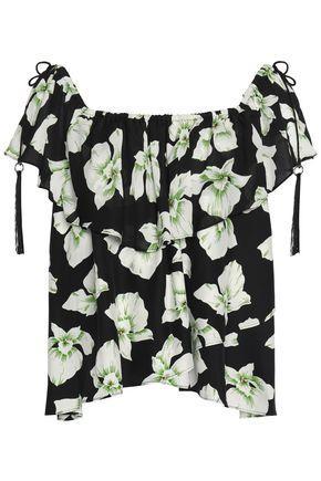 Cinq À Sept Woman Kahlia Off-the-shoulder Ruffled Floral-print Silk Top Black