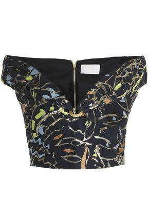 Peter Pilotto Woman Off-the-shoulder Jacquard Crop Top Navy