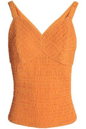 Emilia Wickstead Woman Cutout Shirred Crepe Top Orange