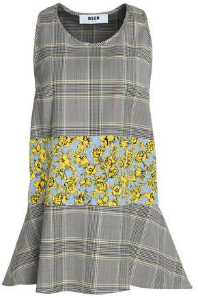 Msgm Woman Floral-paneled Flared Checked Virgin Wool-blend Top Gray