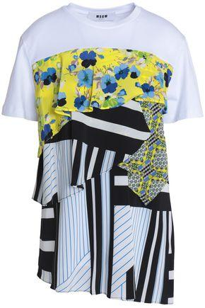 Msgm Paneled Printed Ruffled Cotton-jersey T-shirt In Gray