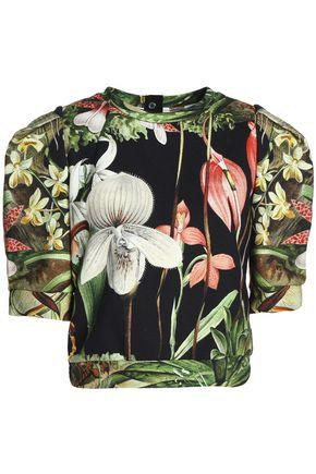 Adam Lippes Woman Cropped Floral-print Cotton-jersey Top Green