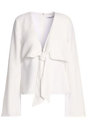 T By Alexander Wang Woman Knotted Cady Blouse White