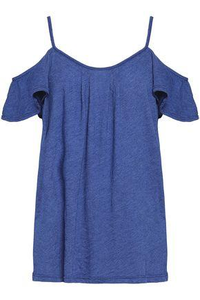Joie Woman Cold-shoulder Pleated Cotton-blend Jersey Top Blue