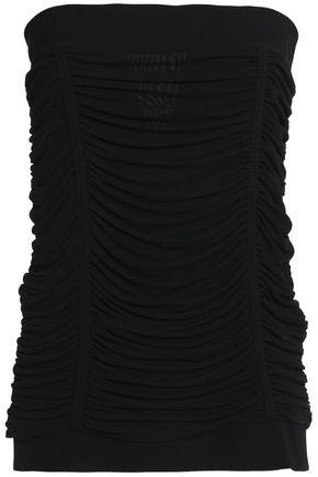 Balmain Woman Strapless Ruched Crepe Top Black