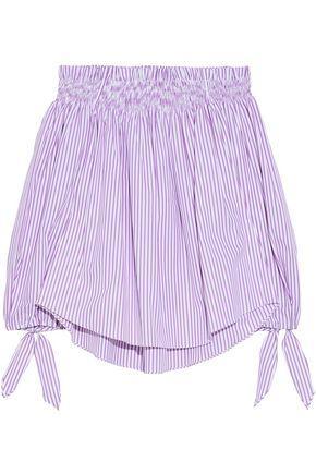 Caroline Constas Woman Lou Off-the-shoulder Striped Cotton-poplin Top Lavender