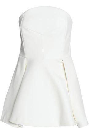 Nicholas Woman Strapless Fluted Pleated Crepe Top Ivory