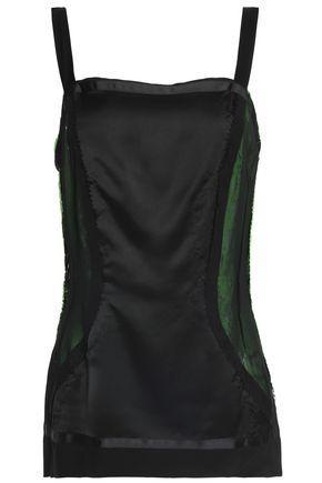 Maison Margiela Woman Neon Lace-trimmed Mesh-paneled Satin Top Black