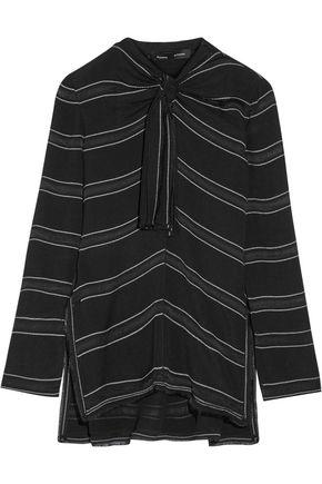 Proenza Schouler Woman Knotted Tie-front Striped Crepe Top Black