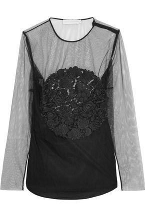 Stella Mccartney Woman Magalie Embroidered Tulle Top Black