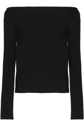 Oscar De La Renta Woman Off-the-shoulder Cutout Knitted Virgin Wool Top Black