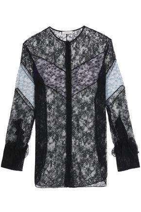 Nina Ricci Woman Ruffle-trimmed Two-tone Lace Shirt Black