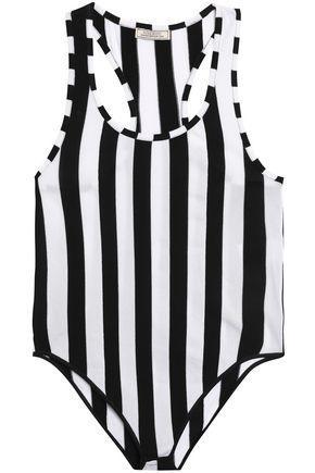 Nina Ricci Woman Striped Stretch-jersey Bodysuit Black
