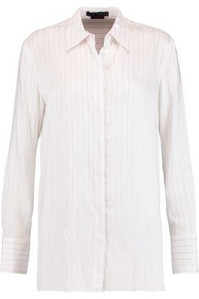Alice And Olivia Woman Striped Twill Shirt White