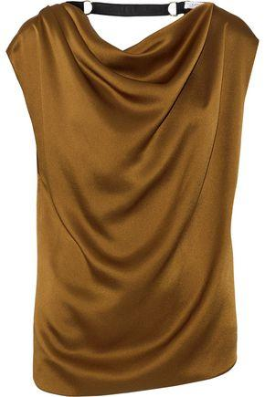 Lanvin Woman Embellished Draped Satin Top Bronze