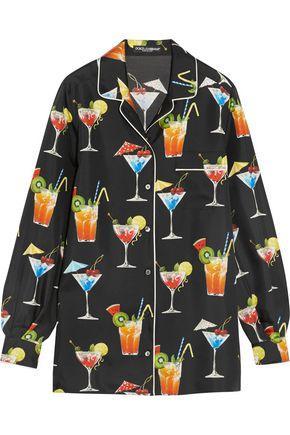 Dolce & Gabbana Woman Printed Silk-twill Shirt Black