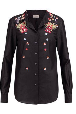 Temperley London Amity Embroidered Cotton Shirt In Black