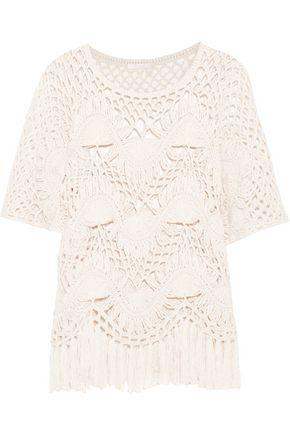 ChloÉ Fringed Crocheted Cotton And Silk-blend Top In Ivory