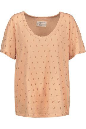Current Elliott Woman The Slouchy Printed Cotton-jersey T-shirt Peach