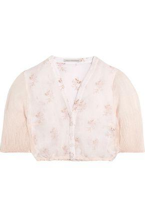 Emilia Wickstead Woman Leslie Cropped Floral-print Cotton And Linen-blend Gauze Top Baby Pink