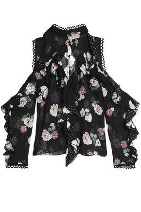 Nicholas Woman Cold-shoulder Ruffled Floral-print Fil Coupé Silk-blend Chiffon Blouse Black