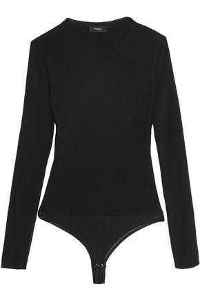 Theory Woman Ribbed Wool-blend Bodysuit Black