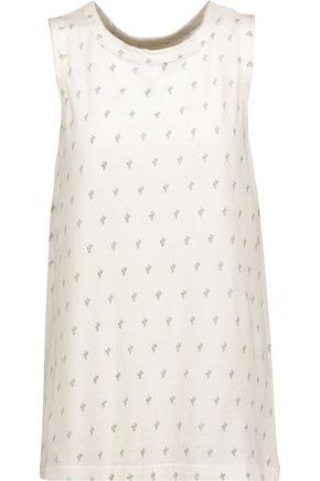 Current Elliott Woman The Muscle Printed Cotton-jersey Tank Off-white