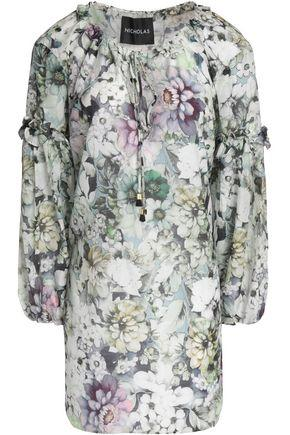 Nicholas Woman Ruffle-trimmed Floral-print Cotton And Silk-blend Tunic Light Green