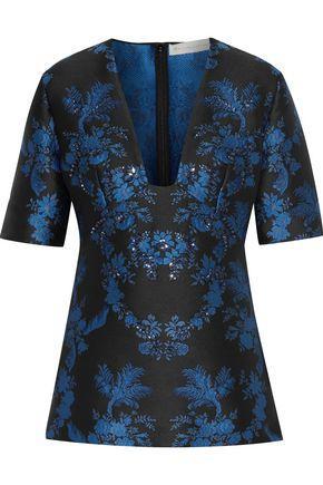 Stella Mccartney Woman Mirella Crystal-embellished Floral-jacquard Top Bright Blue