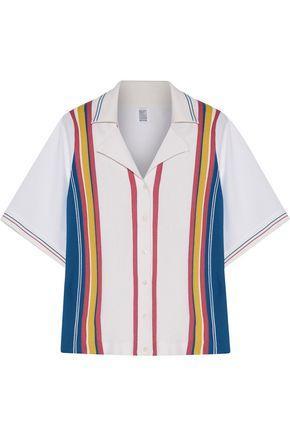 Rosie Assoulin Woman Striped Stretch-knit And Poplin Polo Shirt White
