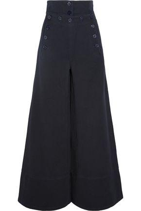 ChloÉ Cotton-blend Twill Wide-leg Pants In Midnight Blue