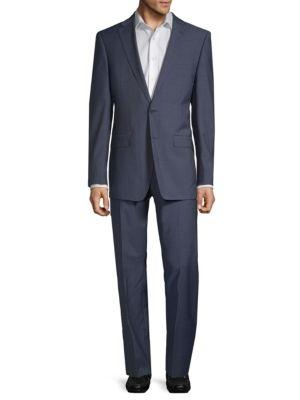 Calvin Klein Extra Slim Fit Neat Wool Suit In Navy