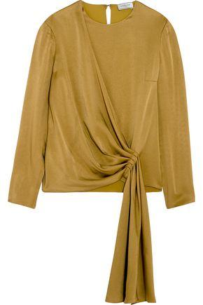 Lanvin Woman Draped Crepe De Chine Blouse Saffron
