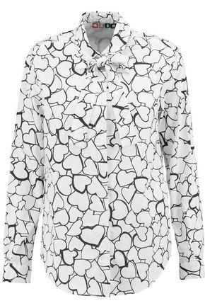 Msgm Woman Printed Cotton-poplin Shirt White