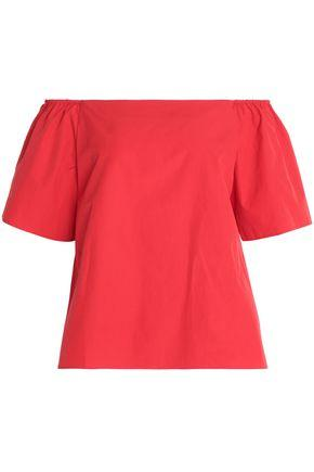 Alice And Olivia Woman Off-the-shoulder Cotton-poplin Top Red