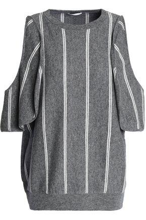 Brunello Cucinelli Cold-shoulder Striped Wool, Cashmere And Silk-blend Top In Gray