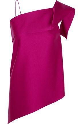 Roland Mouret Woman Iver One-shoulder Asymmetric Satin Top Pink