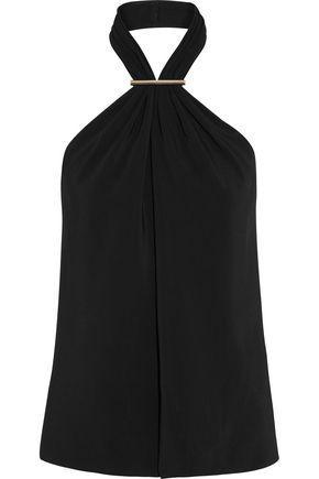 Jason Wu Woman Embellished Stretch-cady Halterneck Top Black