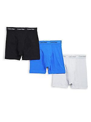 Calvin Klein Elasticized Cotton Boxer Briefs/3-pack In Yyk Black
