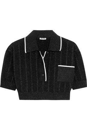Miu Miu Cropped Metallic Knitted Top In Black