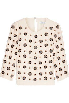 Diane Von Furstenberg Woman Luna Embellished Silk-blend Crepe Top White