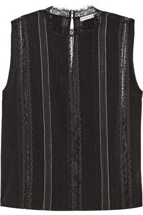 Alice And Olivia Woman Rhona Lace-trimmed Silk-blend Crepe De Chine Top Black