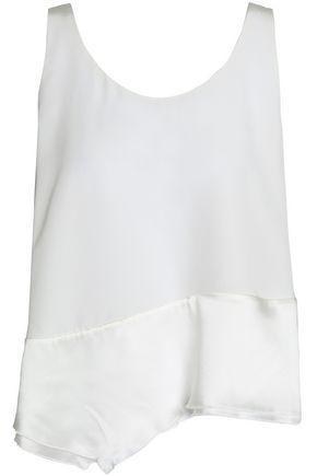 3.1 Phillip Lim Woman Asymmetric Paneled Silk-satin And Crepe Top White