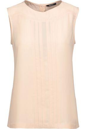 Raoul Woman Pintucked Crepe Top Beige