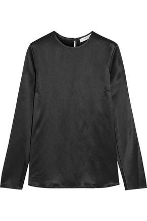 Givenchy Woman Open-sleeved Top In Black Silk-satin Black
