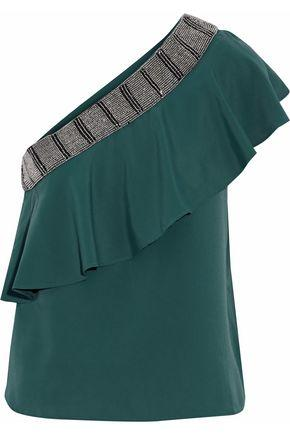 W118 By Walter Baker Woman One-shoulder Bead-embellished Ruffled Crepe Top Teal