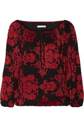 Alice And Olivia Naya Off-the-shoulder Embroidered Cady Top In Red