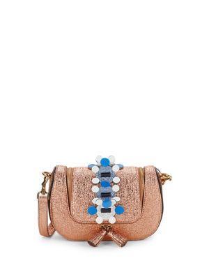 Anya Hindmarch Vere Mini Chain Metallic Leather Crossbody Bag In Red