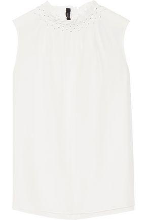 Joseph Woman Gill Smocked Silk Crepe De Chine Top White